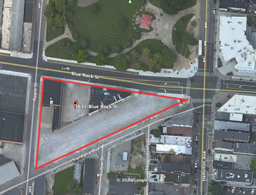 aeriel view of triangle parcel at SW corner of Hamilton Ave & Blue Rock St.